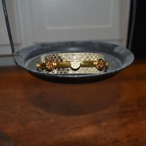 Tory Burch Gold Snakeskin Cuff Logo